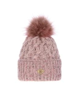 Piękna pleciona zimowa czapka 55-60 AGB/4770 róż