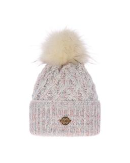 Piękna pleciona zimowa czapka 55-60 AGB/4770 kremowy
