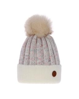 Zimowa czapka z pomponem 55-60 AGB/4771 kremowy
