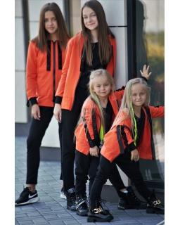 Modniarska bluza z kapturem 134-164 KB03 pomarańcz