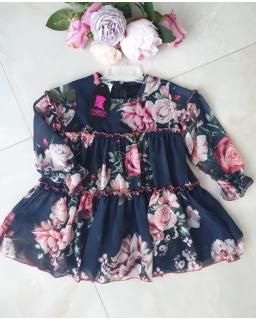 Szyfonowa sukienka z długim rękawkiem 98-122 Wika kwiaty 06