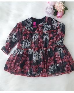 Szyfonowa sukienka z długim rękawkiem 98-122 Wika kwiaty 07