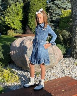 Dżinsowa sukienka z guzikami 134-164 Ida niebieska