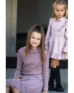 Bluzka basic dla dziewczynki, prosty golf dziewczecy liliowy -2