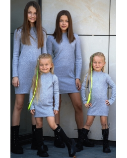 Sukienka swetrowa dla dziewczynki, szara prosta