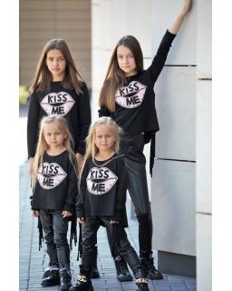 Bluzka z troczkami dla dziewczynki 110-164 QB12 czarna
