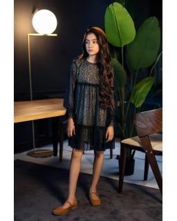 Koronkowa sukienka w stylu boho 140-170 1AW-06B bordo