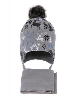 Zimowy komplet dla chłopca AGB/4601 szary