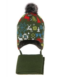 Zimowy komplet dla chłopca AGB/4601 zielony