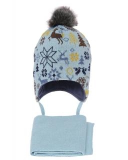 Zimowy komplet dla chłopca AGB/4601 błękitny
