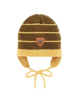 Wiązana czapeczka w paski AGB/3176 musztardowy