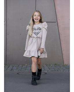 Sukienka z panterkowym sercem 104-158 AFK02 beż