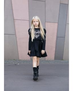 Sukienka z panterkowym sercem 104-158 AFK02 czarny