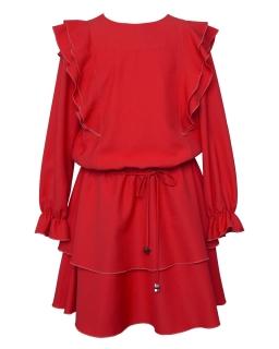 Okolicznościowa sukienka boho 140-170 1AW-04D czerwona
