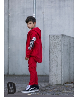 Bluza na zamek z dłuższym tyłem 104-158 AFK07 czerwony