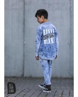 Bluza z dzianiny jeansowej 104-158 AFK08 niebieski