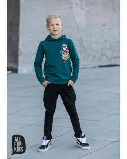 Bluza z kapturem i modnymi naszywkami 104-158 AFK09 zielony