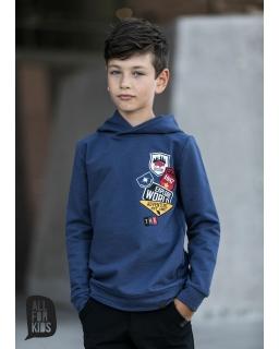 Bluza z kapturem i modnymi naszywkami 104-158 AFK09 niebieski