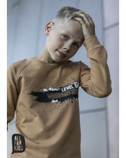 Bluza z modnym nadrukiem 104-158 AFK15 musztardowa