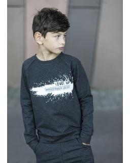 Bluza z modnym nadrukiem 104-158 AFK15 czarny melanż