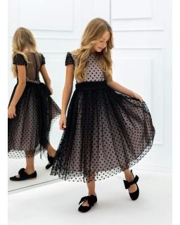 Dziewczęca sukienka w kropki 140-164 1AW-11