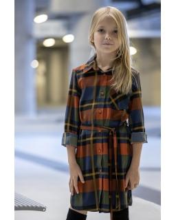 Koszulowa sukienka w kratkę 128-158 P-228 kolorowa