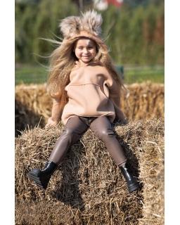 Dziewczęca bluza z pomponami 110-164 QB14 beżowa