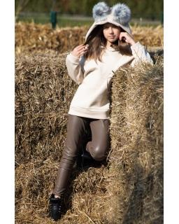 Dziewczęca bluza z pomponami 110-164 QB14 kremowa