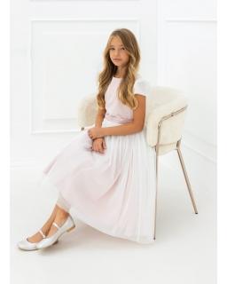 Różowa sukienka midi dla dziewczynki 140-164 1AW-12