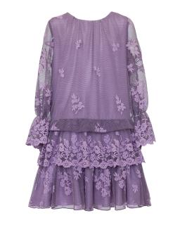 Koronkowa sukienka w stylu boho 140-164 1AW-08A wrzos