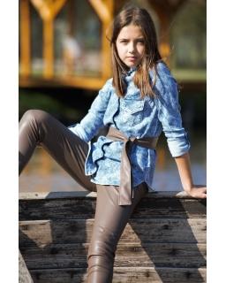 Dziewczęca koszula dżinsowa 110-164 QB15 niebieska