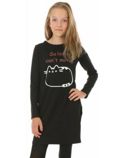Sukienka dla dziewczynki na co dzień, dresowa, wygodna, czarna, tuba