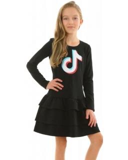 Ubrania Tik Tok, Tiktok, czarna sukienka z falbankami dla diewczynki