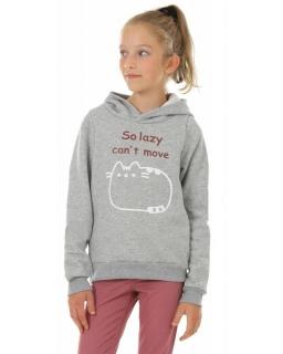 Ciepłe bluzy dla dziewczynek, bluza z kapturem dla dziewczynki szara