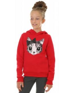 Bluza z uroczym kotem 116-158 KRP418 czerwona