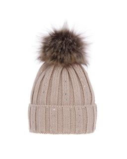 Zimowa czapka z pomponem 55-60 AGB/3379 beż