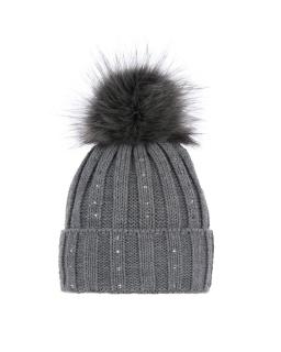 Zimowa czapka z pomponem 55-60 AGB/3379 szary