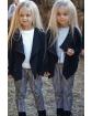 Modne spodnie PEPITKA 110-164 QB09 biały plus czarny