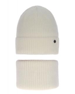 Modny zestaw na zimę czapka i komin AGB/4815 ecru