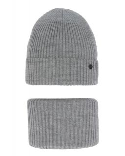 Modny zestaw na zimę czapka i komin AGB/4815 szary