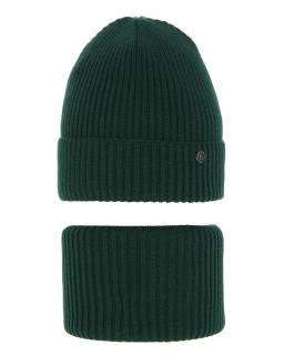 Modny zestaw na zimę czapka i komin AGB/4815 zielony