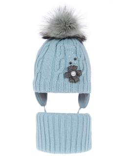 Komplet zimowy z wiązaną czapką AGB/4785 niebieski