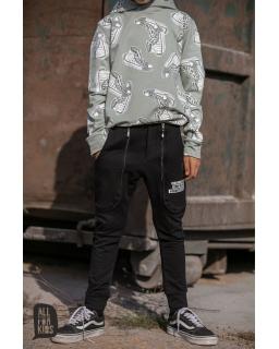 Chłopięce spodnie z kieszeniami 104-158 AFK/20 czarny