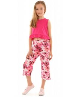 Komplet top plus szerokie spodnie 3/4 w kwiaty 128-158 KRP340