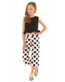 Komplet top plus szerokie spodnie 3/4 w grochy 128-158 KRP340