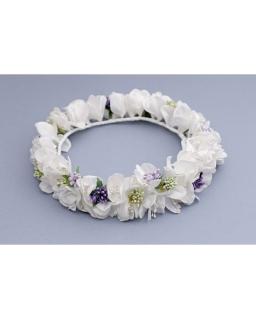 Wianek komunijny sztuczne kwiaty SN263 biały