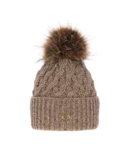 Piękna pleciona zimowa czapka 55-60 AGB/4770 beż