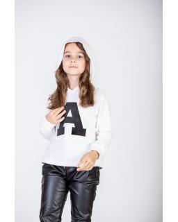 Dziewczęca bluza z kapturem 128-158 P-234 biała