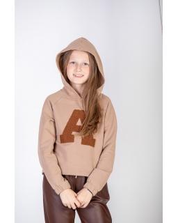 Dziewczęca bluza z kapturem 128-158 P-234 beżowa