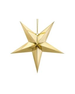 Złota Gwiazda papierowa 70cm DEK113